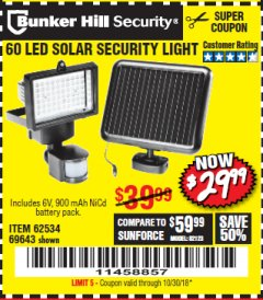 Harbor Freight Coupon 60 LED SOLAR SECURITY LIGHT Lot No. 60524/62534/56213/69643/93661 Expired: 10/30/18 - $29.99