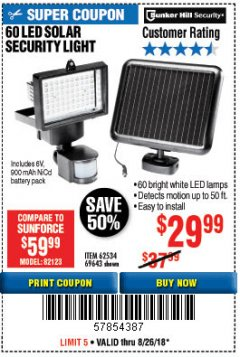 Harbor Freight Coupon 60 LED SOLAR SECURITY LIGHT Lot No. 60524/62534/56213/69643/93661 Expired: 8/26/18 - $29.99