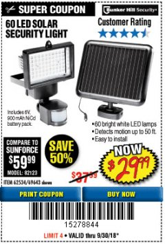 Harbor Freight Coupon 60 LED SOLAR SECURITY LIGHT Lot No. 60524/62534/56213/69643/93661 Expired: 9/30/18 - $29.99