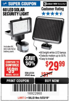 Harbor Freight Coupon 60 LED SOLAR SECURITY LIGHT Lot No. 60524/62534/56213/69643/93661 Expired: 9/23/18 - $29.99