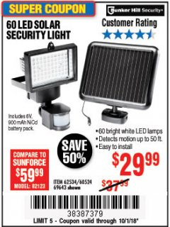 Harbor Freight Coupon 60 LED SOLAR SECURITY LIGHT Lot No. 60524/62534/56213/69643/93661 Expired: 10/1/18 - $29.99