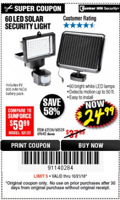 Harbor Freight Coupon 60 LED SOLAR SECURITY LIGHT Lot No. 60524/62534/56213/69643/93661 Expired: 10/21/18 - $24.99