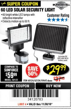 Harbor Freight Coupon 60 LED SOLAR SECURITY LIGHT Lot No. 60524/62534/56213/69643/93661 Expired: 11/30/18 - $29.99