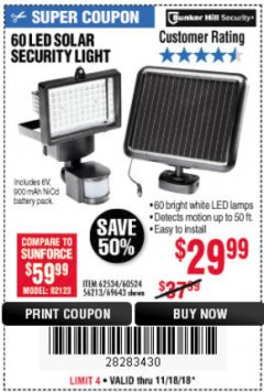 Harbor Freight Coupon 60 LED SOLAR SECURITY LIGHT Lot No. 60524/62534/56213/69643/93661 Expired: 11/18/18 - $29.99