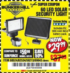 Harbor Freight Coupon 60 LED SOLAR SECURITY LIGHT Lot No. 60524/62534/56213/69643/93661 Expired: 4/1/19 - $29.99