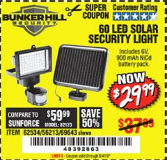 Harbor Freight Coupon 60 LED SOLAR SECURITY LIGHT Lot No. 60524/62534/56213/69643/93661 Expired: 5/4/19 - $29.99