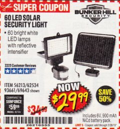 Harbor Freight Coupon 60 LED SOLAR SECURITY LIGHT Lot No. 60524/62534/56213/69643/93661 Expired: 2/28/19 - $29.99