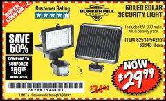 Harbor Freight Coupon 60 LED SOLAR SECURITY LIGHT Lot No. 60524/62534/56213/69643/93661 Expired: 3/30/19 - $29.99
