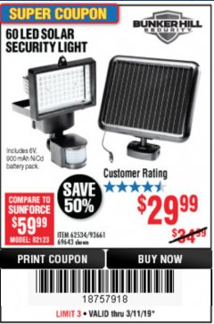 Harbor Freight Coupon 60 LED SOLAR SECURITY LIGHT Lot No. 60524/62534/56213/69643/93661 Expired: 3/11/19 - $29.99