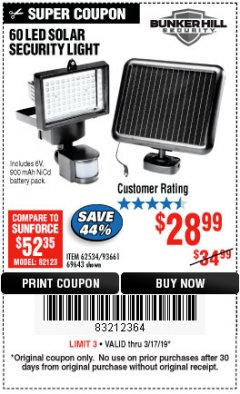 Harbor Freight Coupon 60 LED SOLAR SECURITY LIGHT Lot No. 60524/62534/56213/69643/93661 Expired: 3/17/19 - $28.99