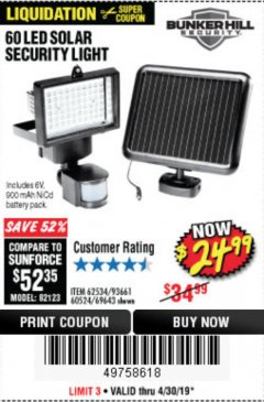 Harbor Freight Coupon 60 LED SOLAR SECURITY LIGHT Lot No. 60524/62534/56213/69643/93661 Expired: 4/30/19 - $24.99