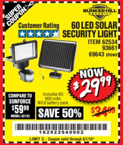 Harbor Freight Coupon 60 LED SOLAR SECURITY LIGHT Lot No. 60524/62534/56213/69643/93661 Expired: 6/1/19 - $29.99