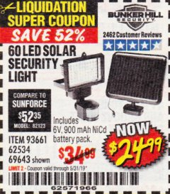 Harbor Freight Coupon 60 LED SOLAR SECURITY LIGHT Lot No. 60524/62534/56213/69643/93661 EXPIRES: 5/31/19 - $24.99
