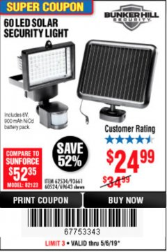 Harbor Freight Coupon 60 LED SOLAR SECURITY LIGHT Lot No. 60524/62534/56213/69643/93661 Expired: 5/6/19 - $24.99