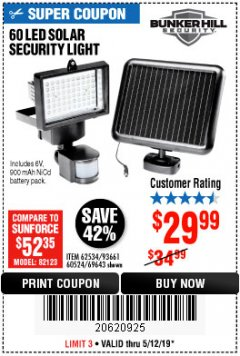 Harbor Freight Coupon 60 LED SOLAR SECURITY LIGHT Lot No. 60524/62534/56213/69643/93661 Expired: 5/12/19 - $29.99