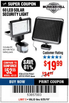 Harbor Freight Coupon 60 LED SOLAR SECURITY LIGHT Lot No. 60524/62534/56213/69643/93661 Expired: 8/25/19 - $19.99
