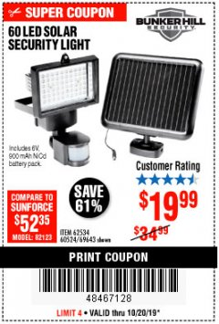 Harbor Freight Coupon 60 LED SOLAR SECURITY LIGHT Lot No. 60524/62534/56213/69643/93661 Expired: 10/20/19 - $19.99