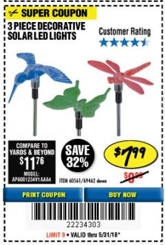 Harbor Freight Coupon 3 PIECE DECORATIVE SOLAR LED LIGHTS Lot No. 95588/69462/60561 Expired: 5/31/18 - $7.99