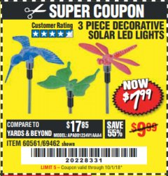 Harbor Freight Coupon 3 PIECE DECORATIVE SOLAR LED LIGHTS Lot No. 95588/69462/60561 Expired: 10/1/18 - $7.99