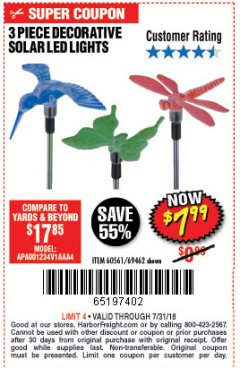 Harbor Freight Coupon 3 PIECE DECORATIVE SOLAR LED LIGHTS Lot No. 95588/69462/60561 Expired: 7/31/18 - $7.99