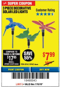 Harbor Freight Coupon 3 PIECE DECORATIVE SOLAR LED LIGHTS Lot No. 95588/69462/60561 Expired: 7/15/18 - $7.99