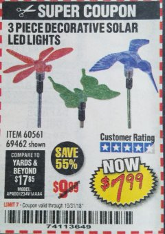 Harbor Freight Coupon 3 PIECE DECORATIVE SOLAR LED LIGHTS Lot No. 95588/69462/60561 Expired: 10/31/18 - $7.99