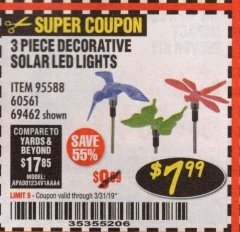Harbor Freight Coupon 3 PIECE DECORATIVE SOLAR LED LIGHTS Lot No. 95588/69462/60561 Expired: 3/31/19 - $7.99