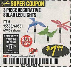 Harbor Freight Coupon 3 PIECE DECORATIVE SOLAR LED LIGHTS Lot No. 95588/69462/60561 Expired: 4/30/19 - $7.99