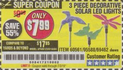 Harbor Freight Coupon 3 PIECE DECORATIVE SOLAR LED LIGHTS Lot No. 95588/69462/60561 Expired: 7/3/19 - $7.99