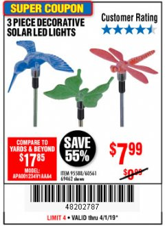 Harbor Freight Coupon 3 PIECE DECORATIVE SOLAR LED LIGHTS Lot No. 95588/69462/60561 Expired: 4/1/19 - $7.99