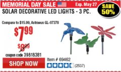 Harbor Freight Coupon 3 PIECE DECORATIVE SOLAR LED LIGHTS Lot No. 95588/69462/60561 Expired: 5/31/19 - $7.99