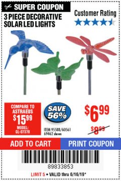 Harbor Freight Coupon 3 PIECE DECORATIVE SOLAR LED LIGHTS Lot No. 95588/69462/60561 Expired: 6/16/19 - $6.99