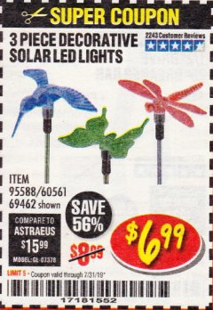 Harbor Freight Coupon 3 PIECE DECORATIVE SOLAR LED LIGHTS Lot No. 95588/69462/60561 Expired: 7/31/19 - $6.99