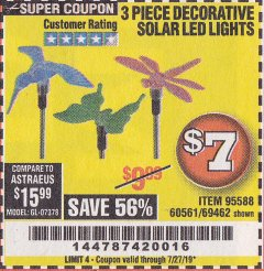 Harbor Freight Coupon 3 PIECE DECORATIVE SOLAR LED LIGHTS Lot No. 95588/69462/60561 Expired: 7/27/19 - $7