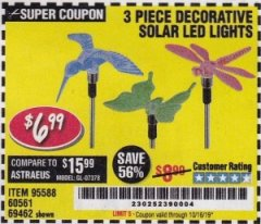 Harbor Freight Coupon 3 PIECE DECORATIVE SOLAR LED LIGHTS Lot No. 95588/69462/60561 Valid Thru: 10/16/19 - $6.99
