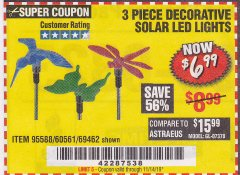 Harbor Freight Coupon 3 PIECE DECORATIVE SOLAR LED LIGHTS Lot No. 95588/69462/60561 Valid Thru: 11/14/19 - $6.99
