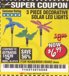 Harbor Freight Coupon 3 PIECE DECORATIVE SOLAR LED LIGHTS Lot No. 95588/69462/60561 Valid Thru: 12/13/19 - $6.99