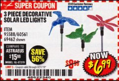 Harbor Freight Coupon 3 PIECE DECORATIVE SOLAR LED LIGHTS Lot No. 95588/69462/60561 Valid Thru: 8/31/19 - $6.99
