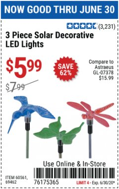 Harbor Freight Coupon 3 PIECE DECORATIVE SOLAR LED LIGHTS Lot No. 95588/69462/60561 EXPIRES: 6/30/20 - $5.99