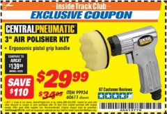 "Harbor Freight ITC Coupon 3"" AIR POLISHER KIT Lot No. 60611/99934 Dates Valid: 12/31/69 - 5/31/19 - $29.99"