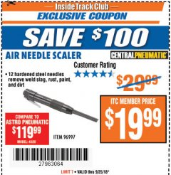 Harbor Freight ITC Coupon AIR NEEDLE SCALER Lot No. 96997 Expired: 9/25/18 - $19.99