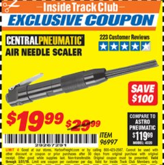 Harbor Freight ITC Coupon AIR NEEDLE SCALER Lot No. 96997 Expired: 3/31/19 - $19.99