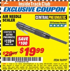 Harbor Freight ITC Coupon AIR NEEDLE SCALER Lot No. 96997 Dates Valid: 12/31/69 - 5/31/19 - $19.99