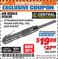 Harbor Freight ITC Coupon AIR NEEDLE SCALER Lot No. 96997 Dates Valid: 12/31/69 - 6/30/20 - $19.99