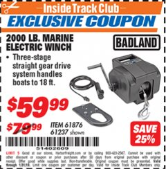 Harbor Freight ITC Coupon 2000 LB. CAPACITY 12 VOLT MARINE ELECTRIC WINCH Lot No. 96455/61876/61237 Expired: 1/31/19 - $59.99