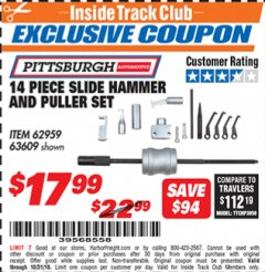 Harbor Freight ITC Coupon 14 PIECE SLIDE HAMMER AND PULLER SET Lot No. 60554/62959/63609 Expired: 10/31/18 - $17.99