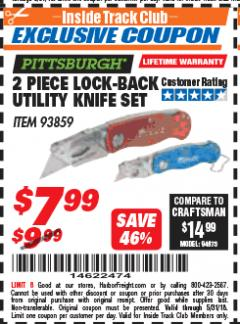 Harbor Freight ITC Coupon 2 PIECE LOCK-BACK UTILITY KNIFE SET Lot No. 93859 Expired: 5/31/18 - $7.99