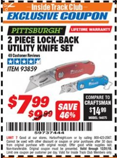 Harbor Freight ITC Coupon 2 PIECE LOCK-BACK UTILITY KNIFE SET Lot No. 93859 Expired: 12/31/18 - $7.99