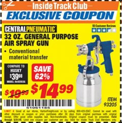 Harbor Freight ITC Coupon 32 OZ. GENERAL PURPOSE AIR SPRAY GUN Lot No. 93205 Dates Valid: 5/3/19 - 5/31/19 - $14.99