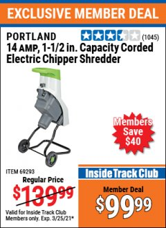 Harbor Freight ITC Coupon 14 AMP ELECTRIC SHREDDER Lot No. 61714/69293 Expired: 3/25/21 - $99.99